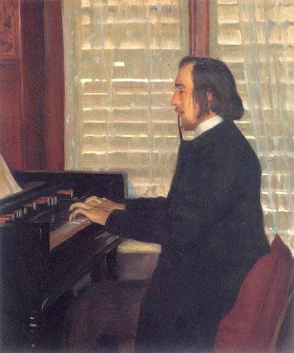 Santiago rusinol portrait of eric satie at the harmonium